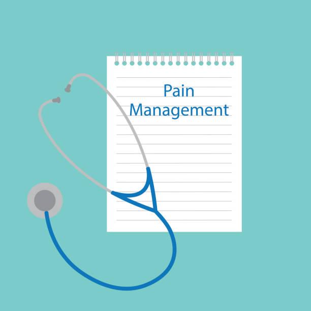 pain management written in notebook pain management written in notebook- vector illustration chronic illness stock illustrations