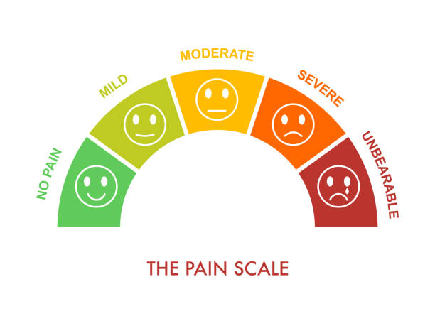 Pain measurement scale 0 to 5, mild to severe. Assessment medical tool. Arch chart indicate pain stages and evaluate suffering.Emotional faces with smile,neutral and sad. Vector illustration clipart Pain measurement scale 0 to 5, mild to severe. Assessment medical tool. Arch chart indicate pain stages and evaluate suffering.Emotional faces with smile,neutral and sad. Vector illustration clipart chronic illness stock illustrations