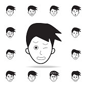 pain on the face icon. Detailed set of facial emotions icons. Premium graphic design. One of the collection icons for websites, web design, mobile app on white background