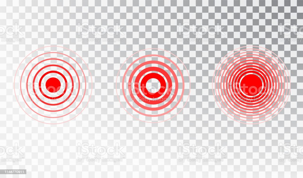 Pain red circle or ache localization icon. Vector isolated pain...