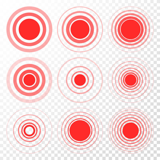 Pain Target Vector. Red Ring From Thin To Thick. Isolated Illustration Pain Icon Set Vector. Circle. Ache, Hurt, Anguish. Symbol Throbbing Pain Isolated Illustration backache stock illustrations