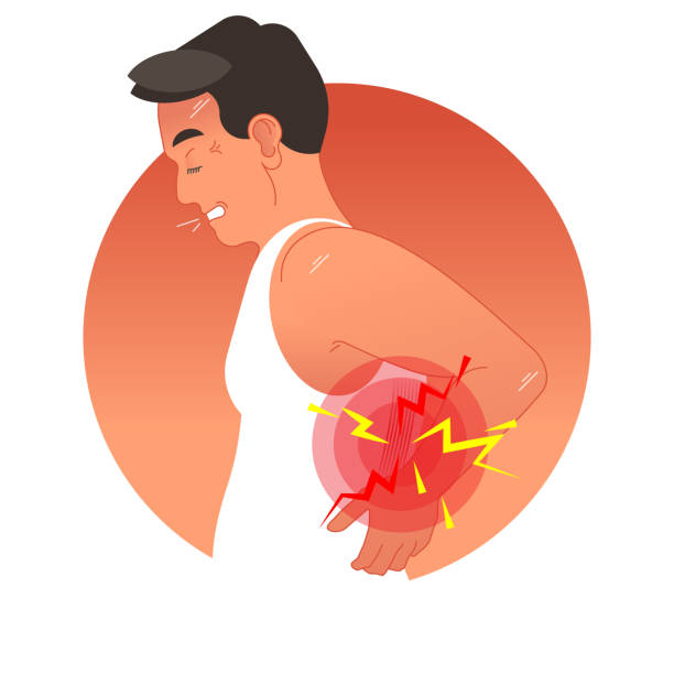 Painful back concept vector illustration with human torso.  Work overload or sports injury. Painful back concept vector illustration with human torso. Pain circles on spine body part. Work overload or sports injury. backache stock illustrations
