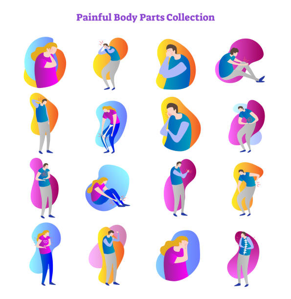 painful body parts medical problem vector illustration collection with bones,joints and inner organs ache. male and female patient postures with medical illness symptoms. - physical therapy stock illustrations