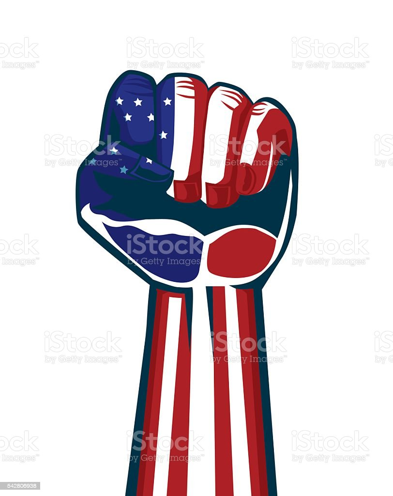 Paint American national flag on a fist and arm. vector art illustration