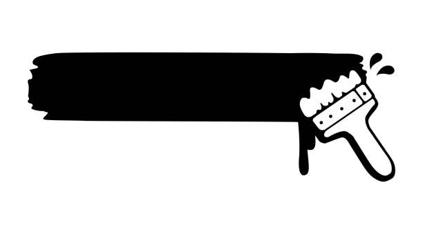 illustrations, cliparts, dessins animés et icônes de illustration de peinture et un pinceau (vide / espace de texte) - logo peintre en batiment