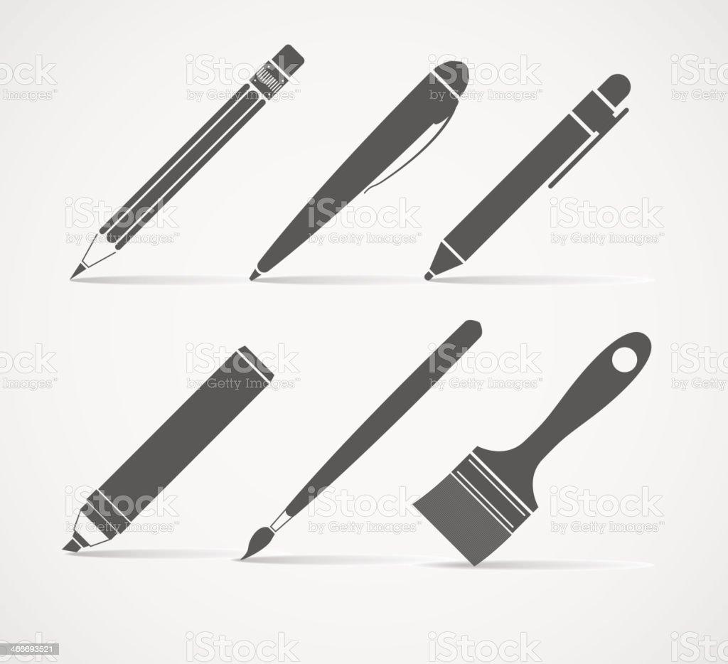 Pintura Y Escritura Herramientas Illustracion Libre De Derechos  ~ Herramientas Pintor Profesional