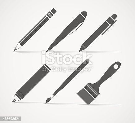 Paint and writing tools vector collection