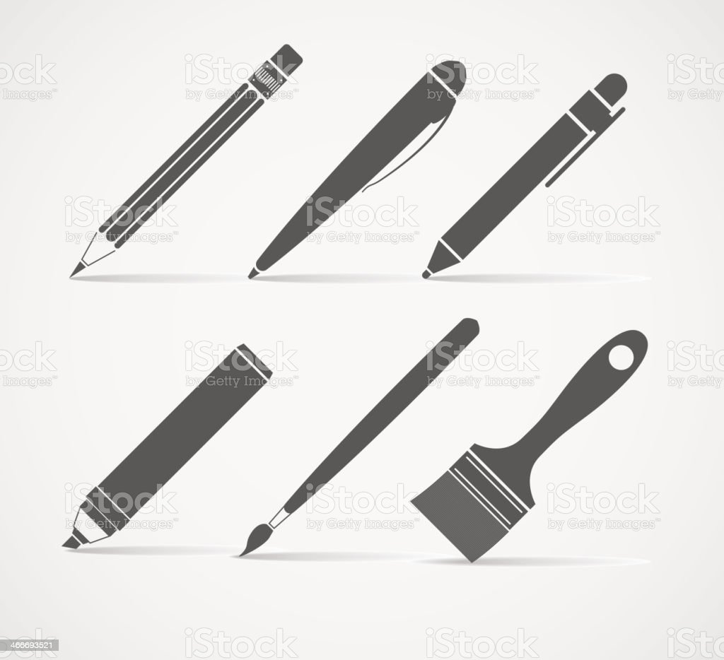 Paint and writing tools vector art illustration
