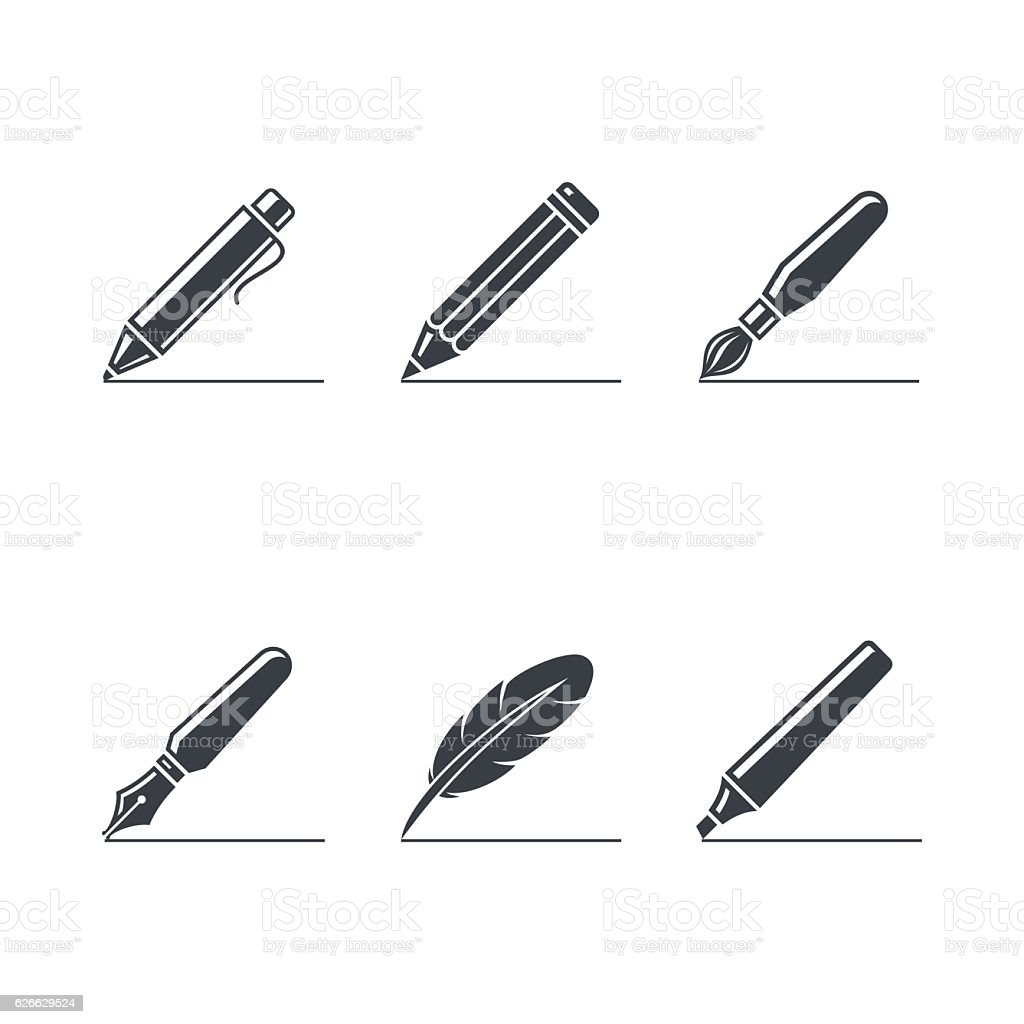 Paint and writting icons set vector art illustration