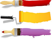 Paint brushes and rollers color banners set isolated vector illustration