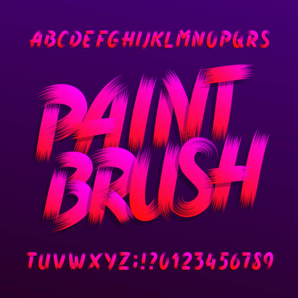 paint brush alphabet font. uppercase brushstroke grunge letters and numbers. - szczotkować stock illustrations