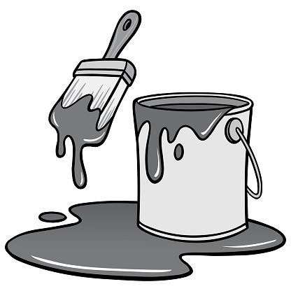 Paint Brush and Bucket Illustration