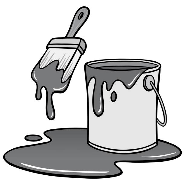 Paint Brush and Bucket Illustration A vector illustration of a cartoon Paint Bucket. paint can stock illustrations