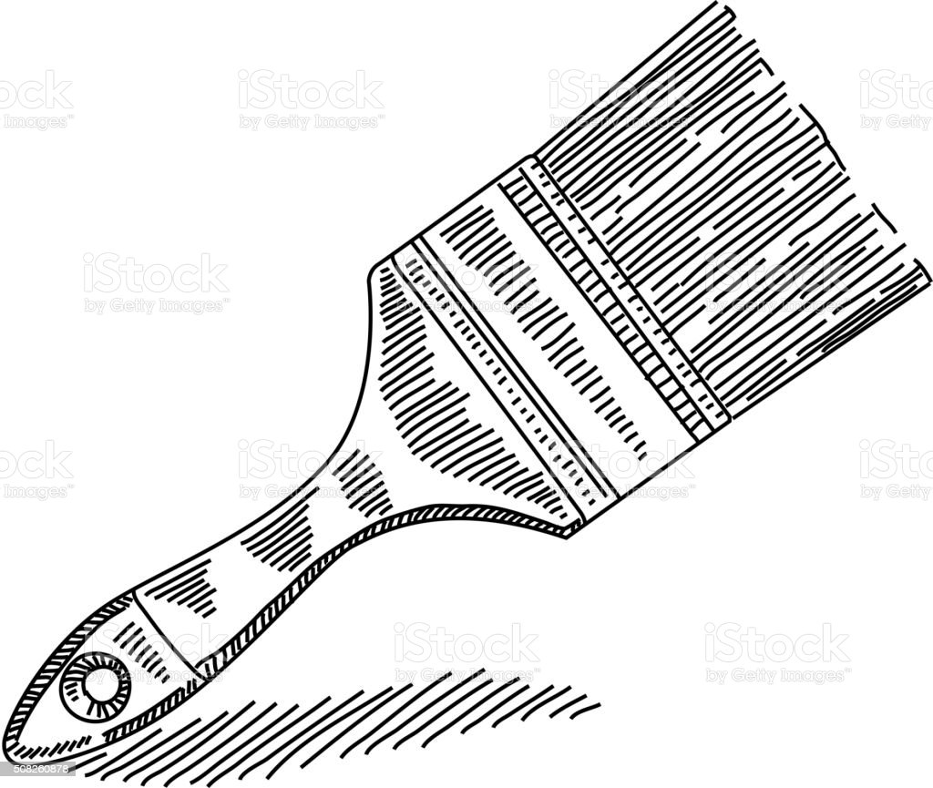 Line Art Brush By Jimro : Paint brush drawing stock vector art more images of