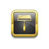 Paint Brush Gold Vector Icon Button