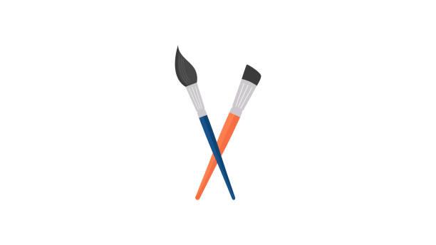 Paint Brush icon Paint Brush icon tempera painting stock illustrations