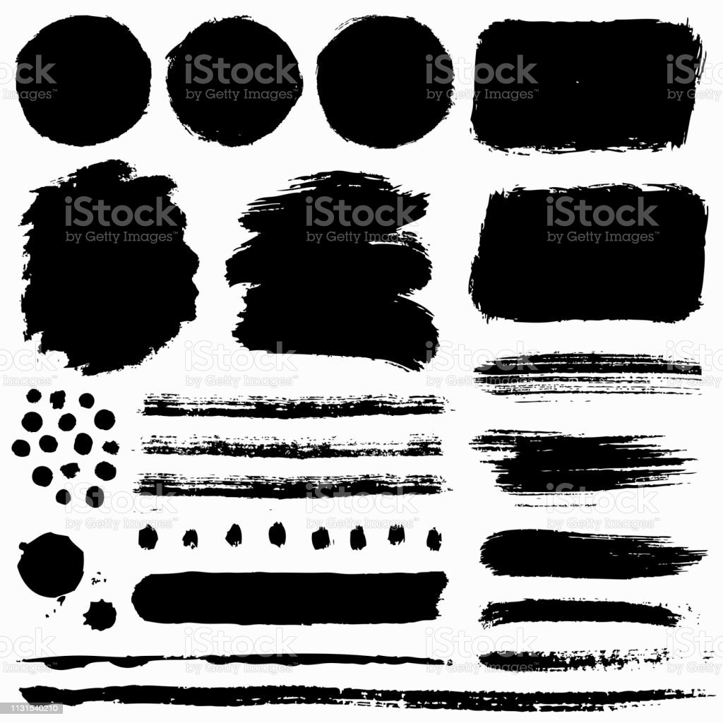 Paint brush strokes and grunge stains. Vector collection. royalty-free paint brush strokes and grunge stains vector collection stock illustration - download image now