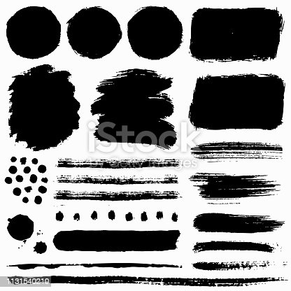 Paint brush strokes and grunge stains isolated on white background. Black vector design elements for paintbrush texture, frame, background, banner or text box. Freehand drawing collection.