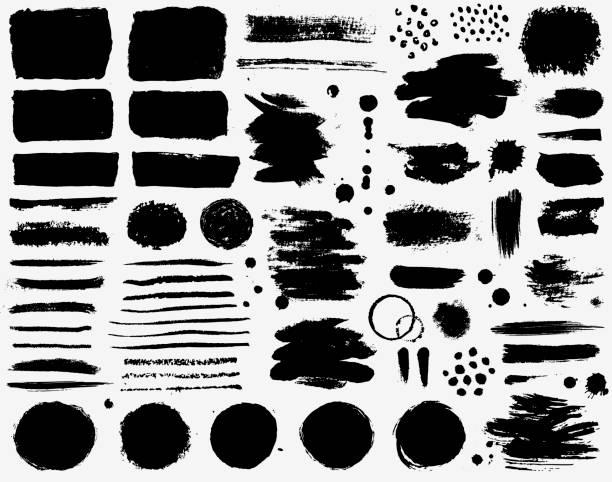 ilustrações, clipart, desenhos animados e ícones de traços da escova de pintura e manchas da tinta. coleção do vetor de grunge. - grunge