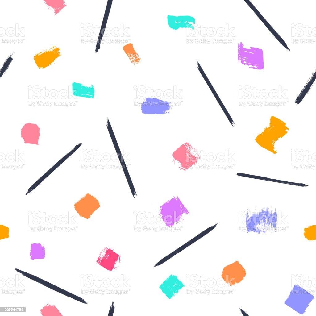 paint brush strokes seamless pattern vector art illustration