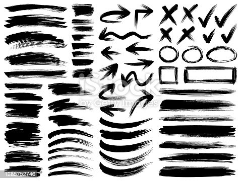 Set of paint brush strokes. Vector design elements. Isolated grunge brush smears black on white.