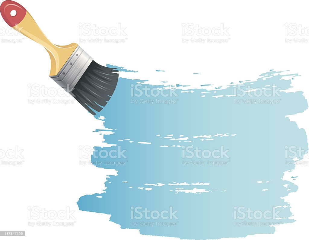Paint brush with blue splash royalty-free paint brush with blue splash stock vector art & more images of abstract