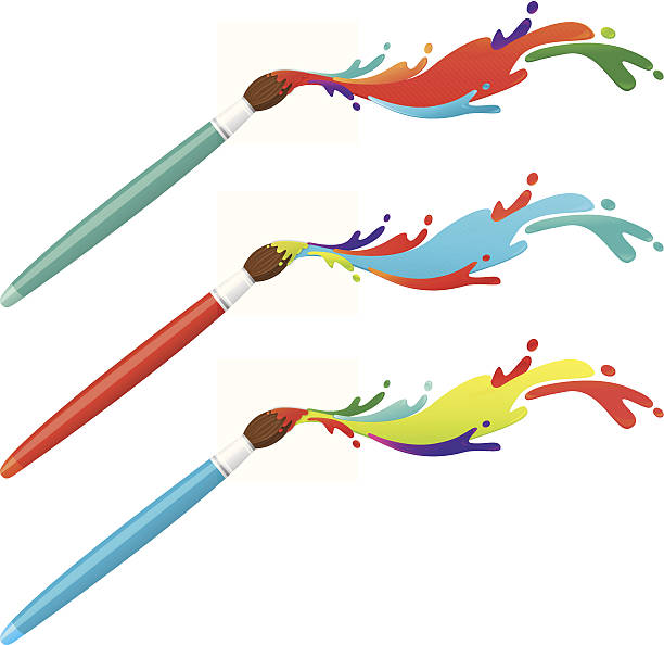 Paint brushes with colourful splatters vector art illustration