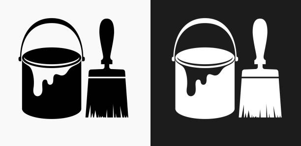 Paint Bucket and Brush Icon on Black and White Vector Backgrounds Paint Bucket and Brush Icon on Black and White Vector Backgrounds. This vector illustration includes two variations of the icon one in black on a light background on the left and another version in white on a dark background positioned on the right. The vector icon is simple yet elegant and can be used in a variety of ways including website or mobile application icon. This royalty free image is 100% vector based and all design elements can be scaled to any size. paint can stock illustrations
