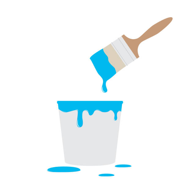 Paint bucket and brush Paint bucket and brush  illustration paint can stock illustrations
