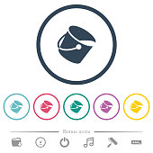 Paint bucket flat color icons in round outlines