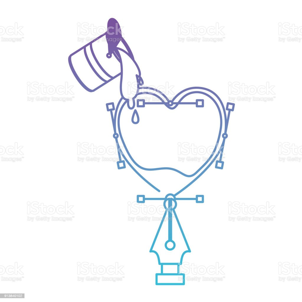 Mavi Kontur Için Bozulmuş Mor Kalp Tasarımı Dolma Kalem Ile Kova