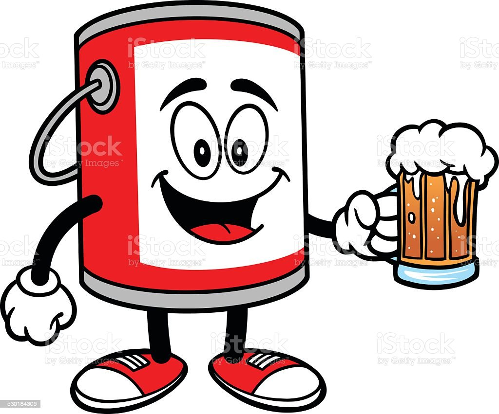 Paint Bucket with a Beer vector art illustration