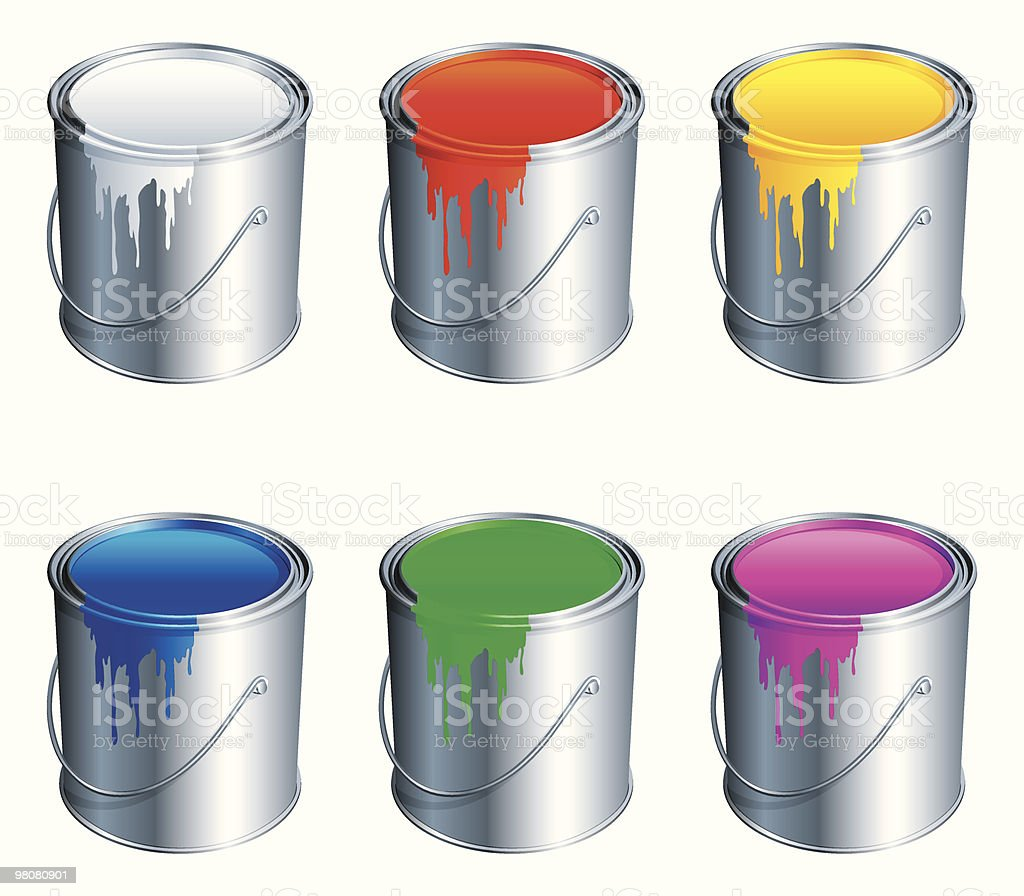 Paint buckets. royalty-free paint buckets stock vector art & more images of art