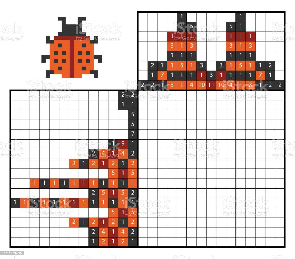 Malen Von Zahlenrätsel Marienkäfer Stock Vektor Art Und Mehr