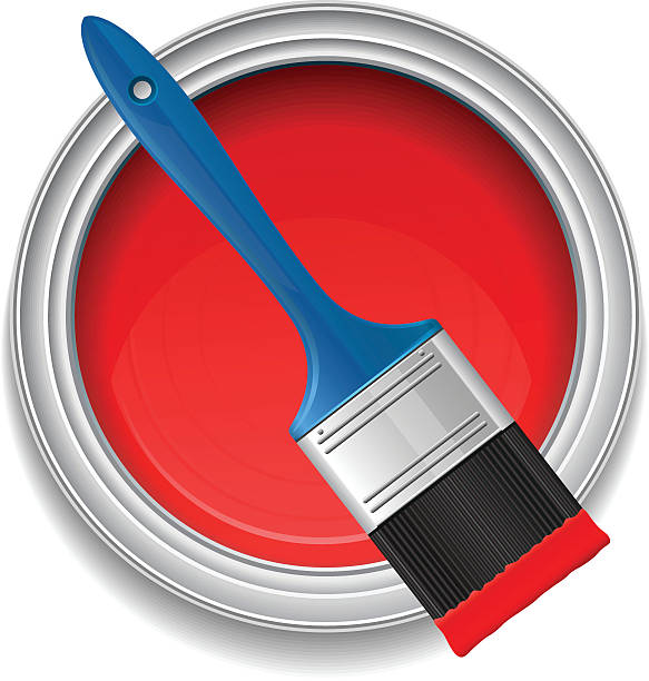 Paint can and paintbrush Paint can and paintbrush,vector illustration paint can stock illustrations