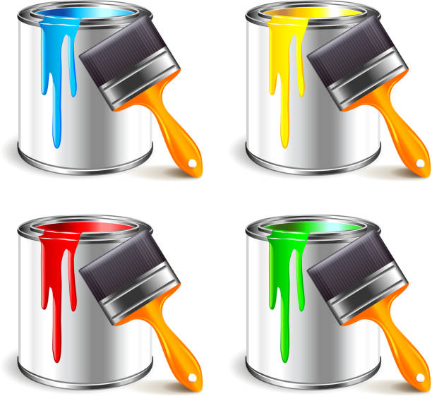 Paint can isolated on white vector Paint can and brush isolated on white photo-realistic vector illustration paint can stock illustrations