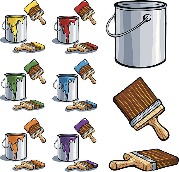 Paint Cans and Brushes Vector illustration of paint cans and brushes with paint dripping from the sides of the cans. Paint is shown in yellow, red, green, blue, orange, and purple. File is well organized with global swatches to allow for easily changing paint colors. paint can stock illustrations