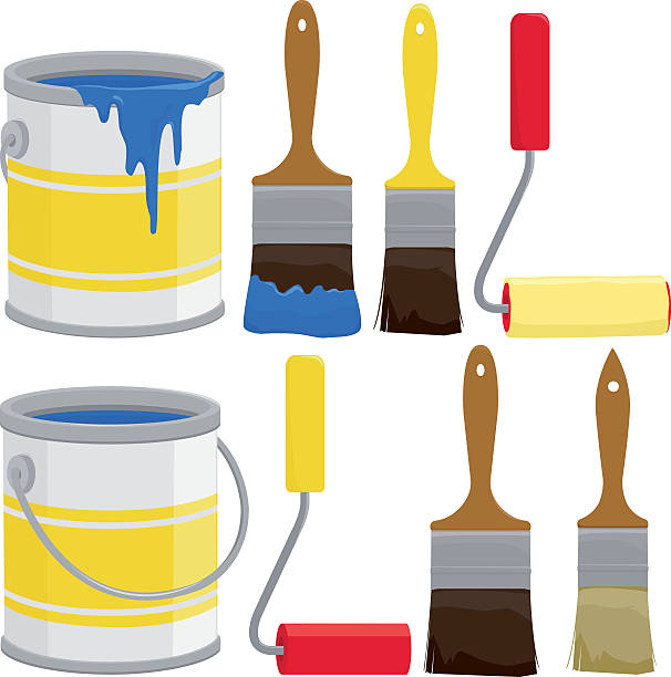 Paint cans, brushes and rollers Paint cans, brushes, buckets and rollers. Vector illustration paint can stock illustrations