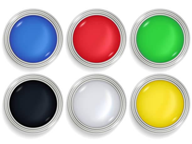 lack dosen bunte farbe in metallbehältern festgelegt. - hausfarbpaletten stock-grafiken, -clipart, -cartoons und -symbole
