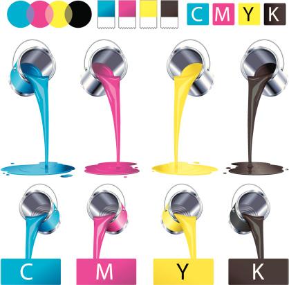 C-M-Y-K paint cans