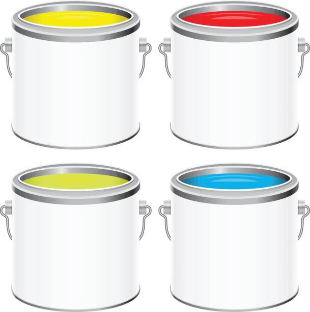 Paint cans Colourful paint cans paint can stock illustrations