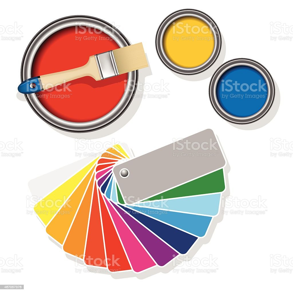 Paint cans with coloured swatches vector art illustration