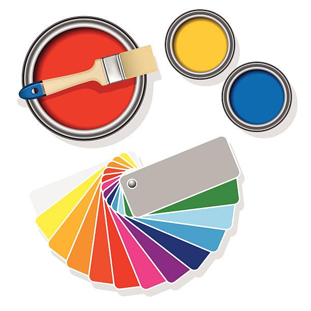 Farbe-Dosen mit farbigen Stoffen – Vektorgrafik