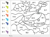 Paint color by addition and subtraction numbers