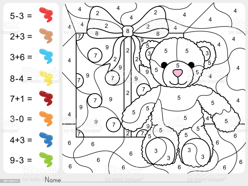 paint color by numbers addition and subtraction worksheet for