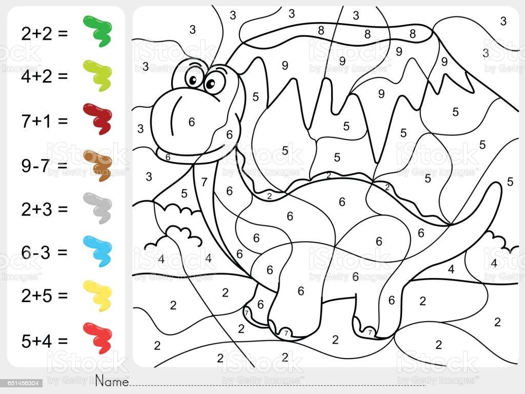 Ilustración de Pintura Color Por Números Hoja De Cálculo De Suma Y ...