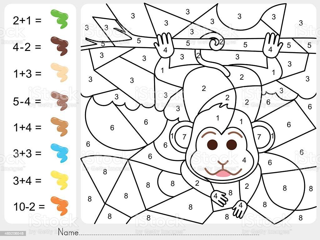Ilustración de Pintura Color Por Números De Hoja De Trabajo Para La ...
