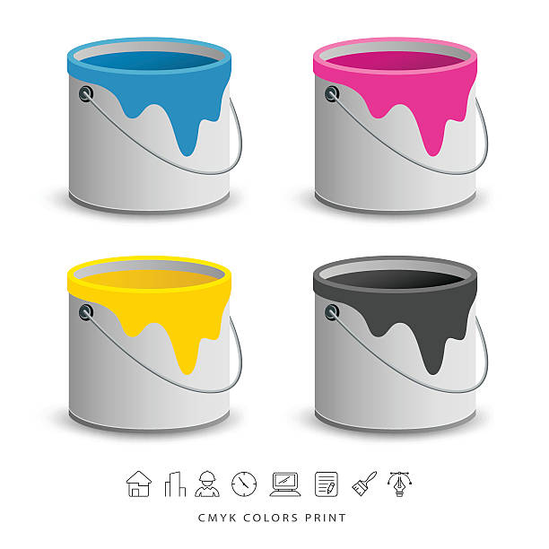 Paint colorful cans with business icons concept Paint colorful cans with business icons concept design, vector illustration paint can stock illustrations