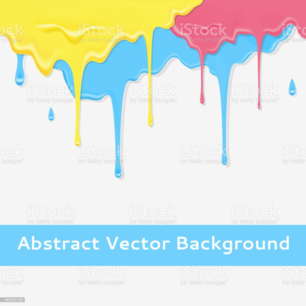 Paint colorful dripping background in three color option. royalty-free stock vector art