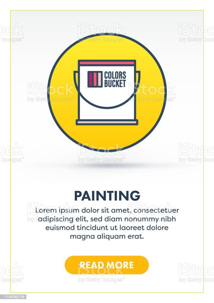 Farbe Für Räume Malen Web Banner Illustration Mit Icon Stock Vektor